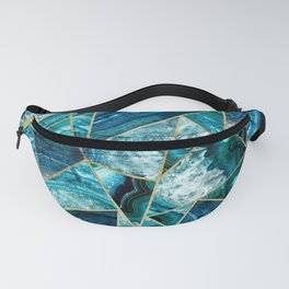 Turquoise Navy Blue Agate Black Gold Geometric Triangles Fanny Pack