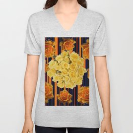 GOLDEN & YELLOW ROSES DARK STRIPES ART Unisex V-Neck