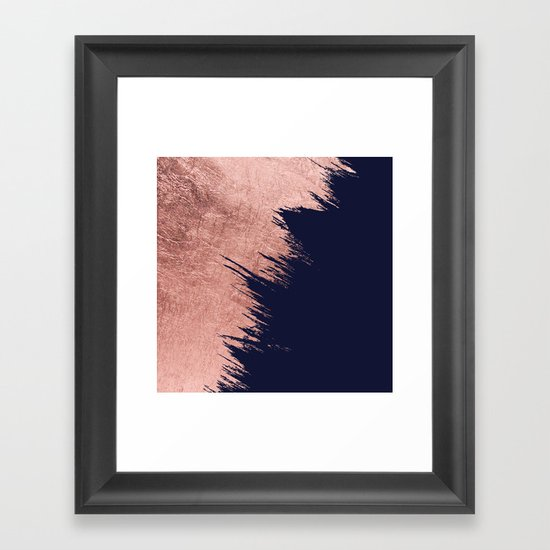 Navy blue abstract faux rose gold brushstrokes by pink_water