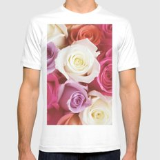 Romantic Rose MEDIUM White Mens Fitted Tee