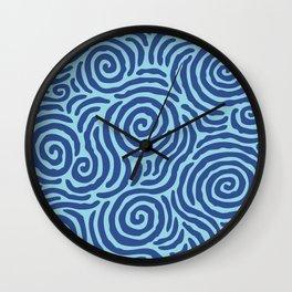 Ripple Effect Pattern Blue on Blue Wall Clock