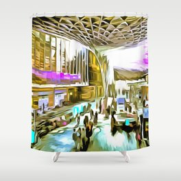 Kings Cross Station London Pop Art Shower Curtain