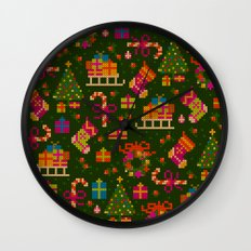 christmas x-stitch pattern for the holiday mood Wall Clock