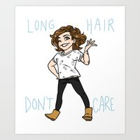 kendrawcandraw Art Prints featuring Long Hair Don't Care by kendrawcandraw