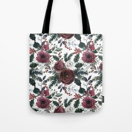 Festive Red Floral Arrangement in Soft Muted Tones on White  Tote Bag