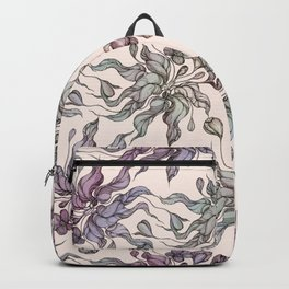Vintage floral seamless pattern with hand drawn coloring  crocus Backpack
