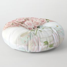Romantic Shabby Chic Cottage Pink Roses In Vase Still Life Floral Prints Home Decor Floor Pillow