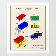 Lego Building Brick Patent - Colour Art Print