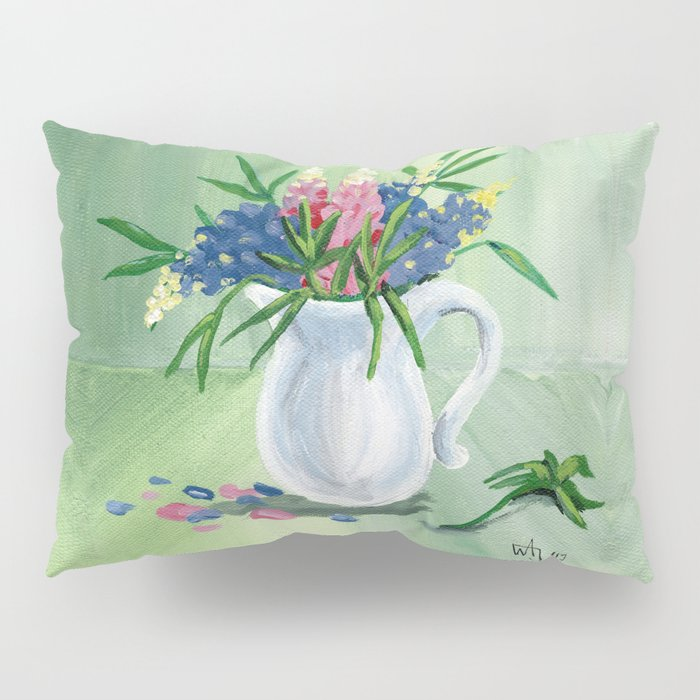Pitcher of Lupins in Green Pillow Sham