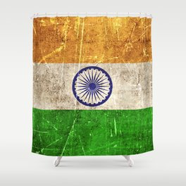 Vintage Aged and Scratched Indian Flag Shower Curtain