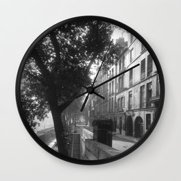 Paris - Quai d'Anjou, 6h du matin lost generation street scene 1920's black and white photography  Wall Clock