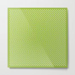 Tiny Paw Prints Pattern - Bright Green & White Metal Print
