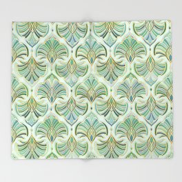 Jade Enamel Art Deco Fans Throw Blanket