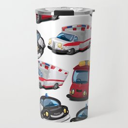 Fire, Police and Ambulance toy car pattern Travel Mug