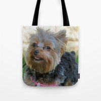 yorkie Tote Bags featuring Little Yorkie by IowaShots