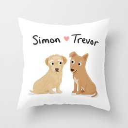 "Custom Artwork, ""Simon and Trevor"" Throw Pillow"