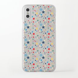 Christmas elements mix pattern Clear iPhone Case