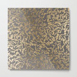 Faux gold foil abstract geometric on grey concrete cement Metal Print