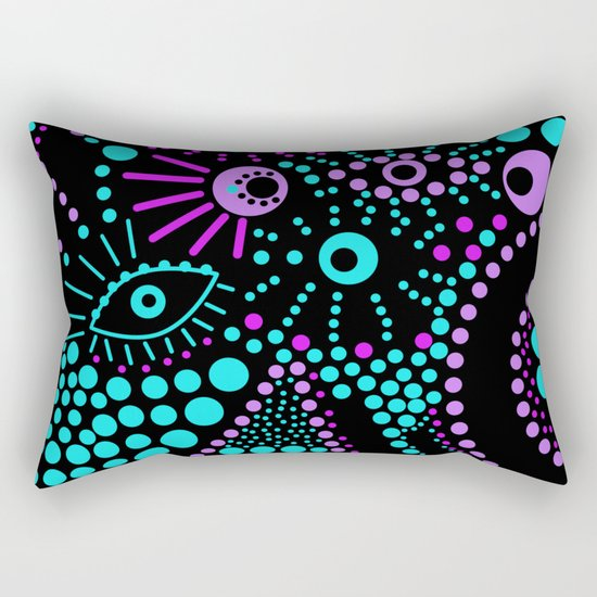 Abstract polka dot purple , black , turquoise . Rectangular Pillow