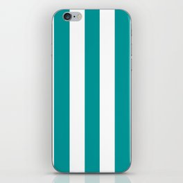 Viridian green blue - solid color - white vertical lines pattern iPhone Skin