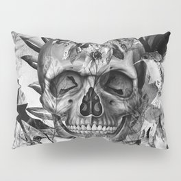 Black White Boho Skull Pillow Sham