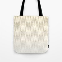 gold glitter Tote Bags featuring Gold Glitter Ombre Chevrons by Doucette Designs