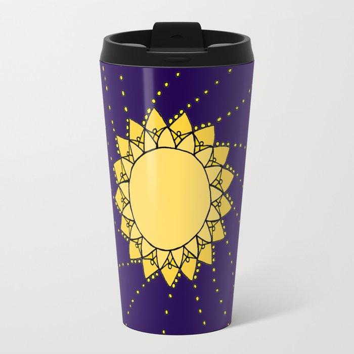 Celestial Swirling Sun Boho Mandala Hand-drawn Illustration Travel Mug
