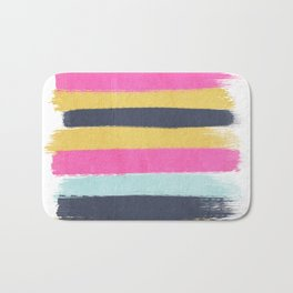 Sacha - stripes painting boho color palette bright happy dorm college abstract art Bath Mat