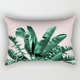 Turquoise Banana and palm Leaves Rectangular Pillow
