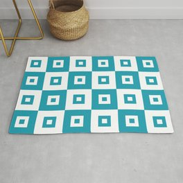 Retro Mid Century Modern Square Pattern Turquoise Rug