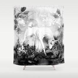 Einhorn - schwarz-weiß Shower Curtain