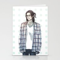 bucky barnes Stationery Cards featuring accidental hipster bucky by steammmpunk