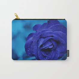Blue Rose With Rain Drops Carry-All Pouch