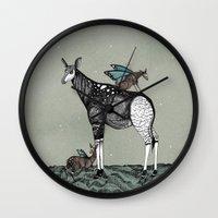 starry night Wall Clocks featuring Starry Night by Kianna Kilgren