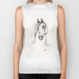 Arabian horse drawing tattoo Biker Tank