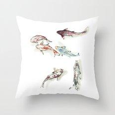 Koi Fish Watercolour Throw Pillow