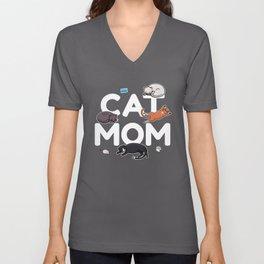 Cat Mom   Kitty Kitten Purring Feline Unisex V-Neck