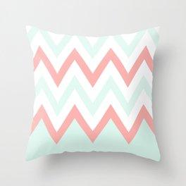 Mint & Coral Chevron (3) Throw Pillow