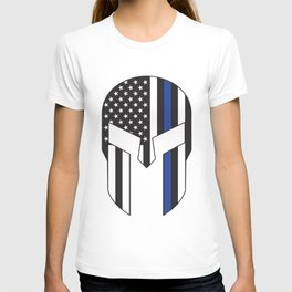 Gladiator Helmet American Flag Thin Blue Line T-shirt