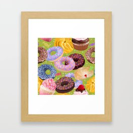 Donuts, Cupcakes, Candy Framed Art Print