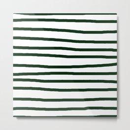 Simply Drawn Stripes in Pine Green Metal Print