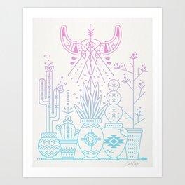 Santa Fe Garden – Rose Quartz & Serenity Art Print