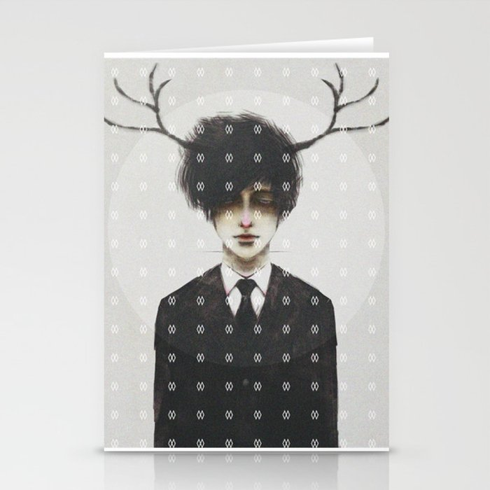 BLACK SUIT ANTLERS Stationery Cards