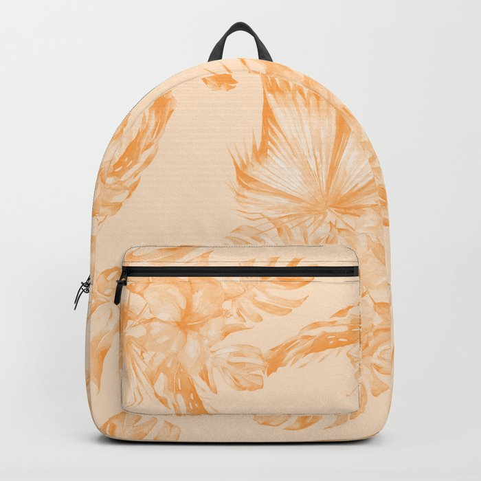 Island Vacation Hibiscus Coral Mango Orange Backpack
