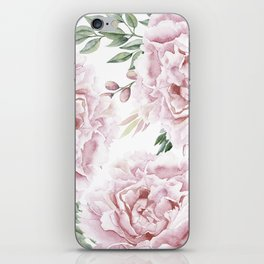 Girly Pastel Pink Roses Garden iPhone Skin