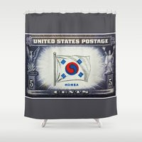 korea Shower Curtains featuring Flag of Korea by lanjee