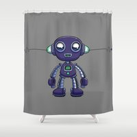 android Shower Curtains featuring Purple Android by Richtoon