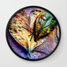Water drop on green heart leaf - A pitangueira Wall Clock