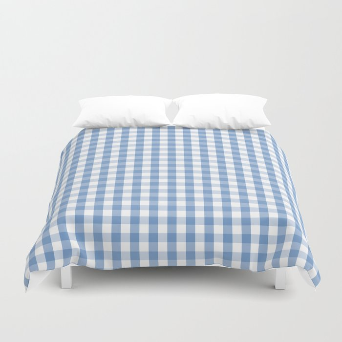 Classic Pale Blue Pastel Gingham Check Duvet Cover By