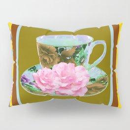 YELLOW ANTIQUE BLUE PORCELAIN TEA SET & PINK ROSES Pillow Sham